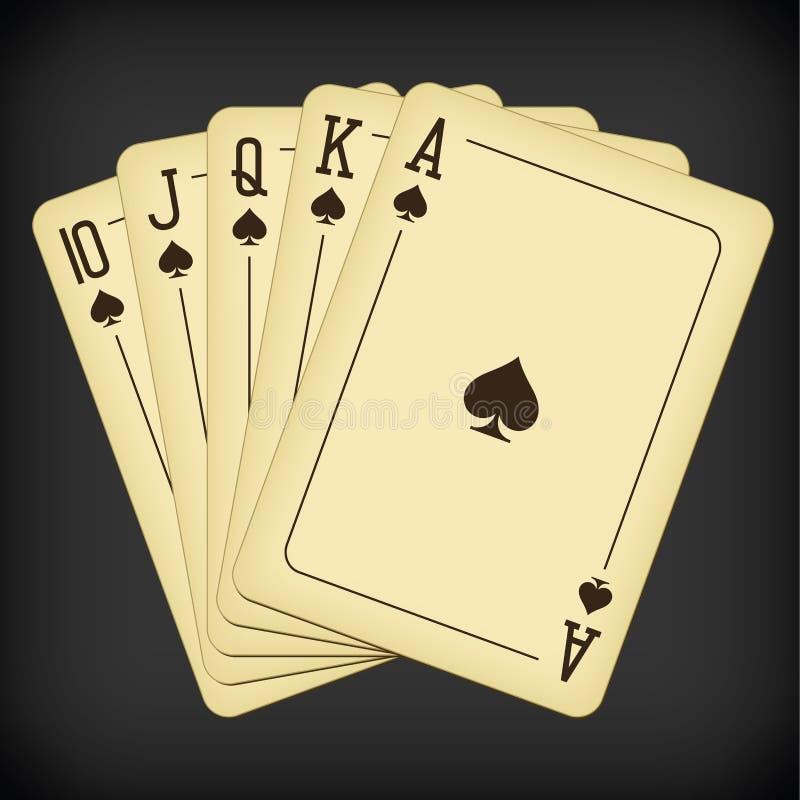 Royal Flush of pik - ilustracja wektora kart do gry w roczniki ilustracji