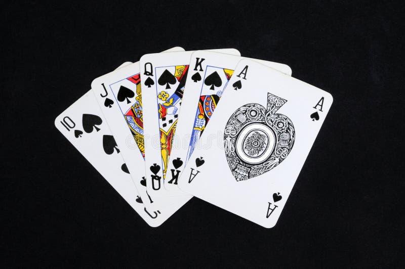 Royal Flush-Schürhakenhand. lizenzfreies stockfoto