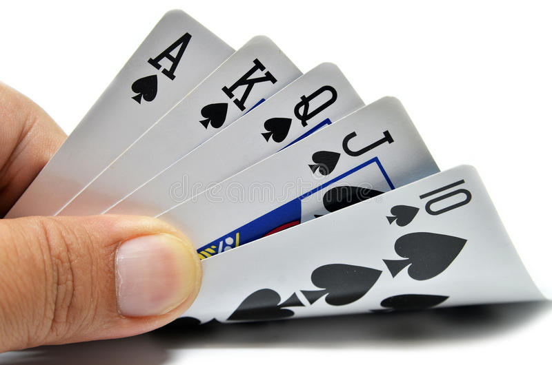 Royal flush of spade stock photos