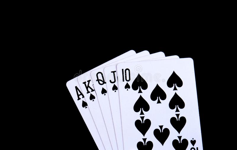 A royal flush in spades stock photos