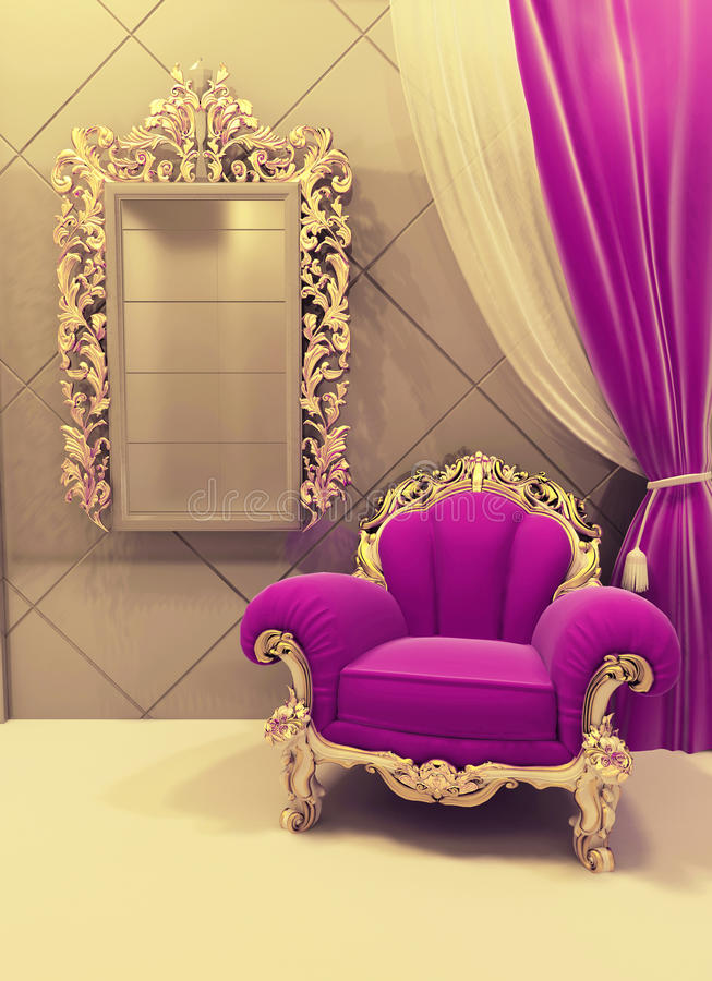 Download Royal Furniture In A Luxurious Interior, Pink Stock Illustration    Illustration Of Gold,
