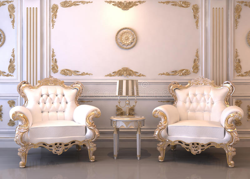 Royal furniture in luxury interior royalty free illustration