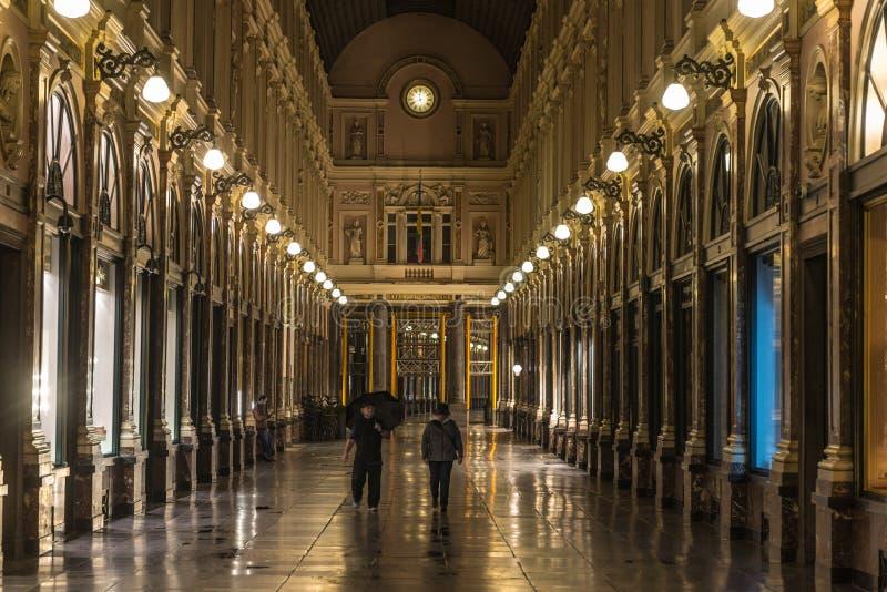 Royal galleries of Brussels Saint-Hubert (Galerie du Roi, Galerie du Reine). OCTOBER 06 2015 - BRUSSELS, BELGIUM royalty free stock photos