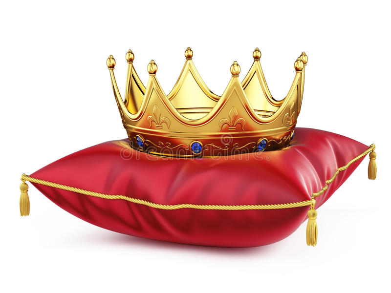 Royal gold crown on red pillow on white vector illustration