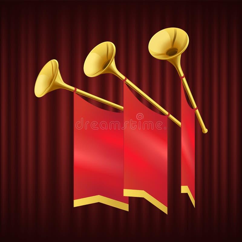 Royal Gold Trumpet, musikinstrumentvektor vektor illustrationer