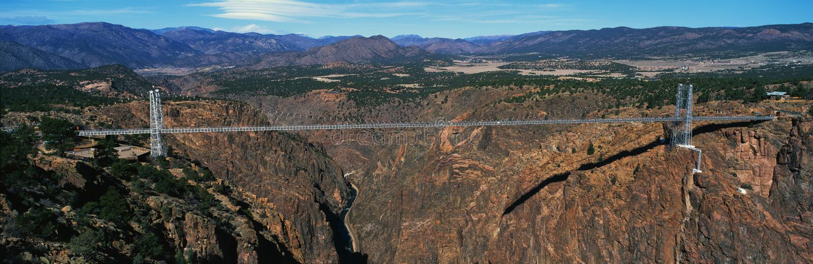 Royal Gorge Bridge above river, CO. This is the Royal Gorge Bridge in Colorado which is the world's highest suspension bridge. It is 1053 Ft. above the Arkansas royalty free stock images