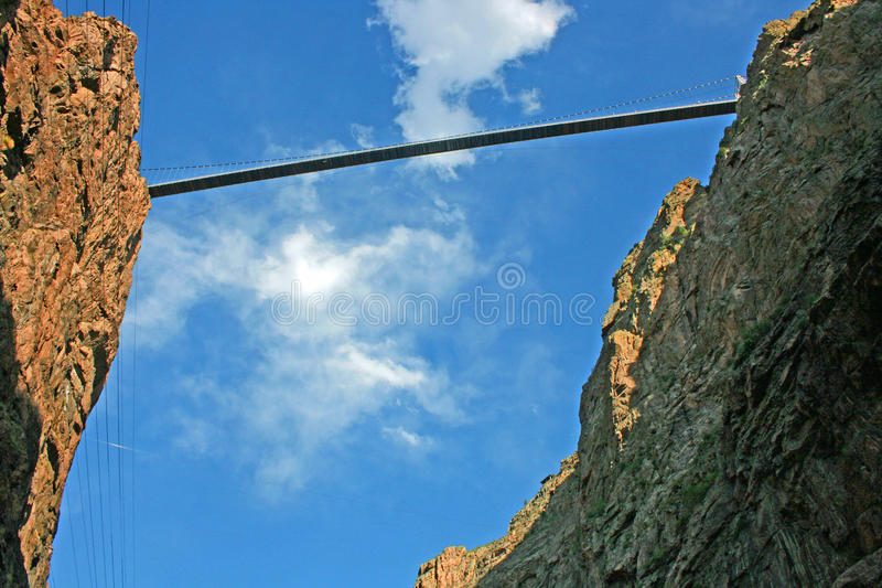 Royal Gorge Bridge. View at Royal Gorge Bridge made from the bottom of the canyon royalty free stock photo