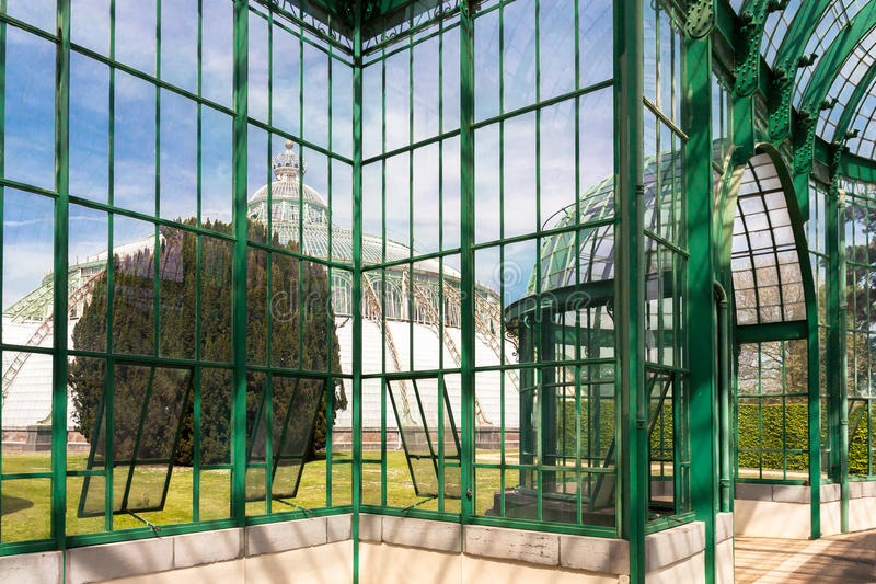 Royal Greenhouse of Laeken. The architecture of the Royal Greenhouses of Laeken in Brussel end of XIXth century has inspired the new Belgian Architecture of XXth royalty free stock photos