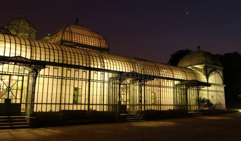 Royal greenhouse at night royalty free stock photos