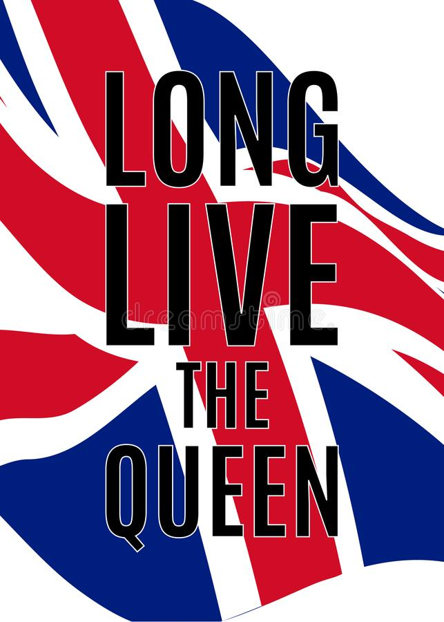 Royal greetings poster with waving United kingdom flag royalty free illustration