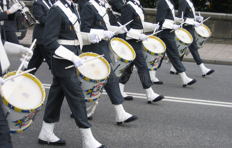 Royal Guard change in Stockholm stock image