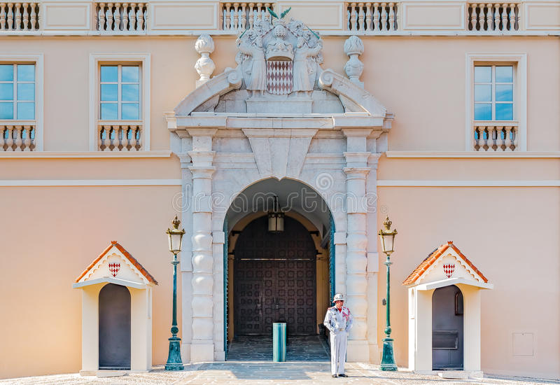 Royal guard on duty at the Palace of the Prince of Monaco stock photo