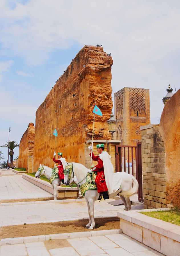 Royal guard in front of the Hassan Tower and Mausoleum of Mohammed V in Rabat stock photography