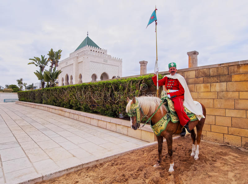 Royal guard in front of the Hassan Tower and Mausoleum of Mohammed V in Rabat stock photo