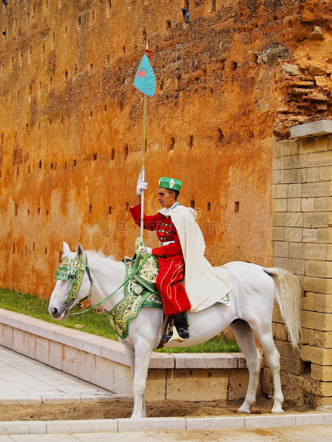 Royal guard in front of the Hassan Tower and Mausoleum of Mohammed V in Rabat royalty free stock photo