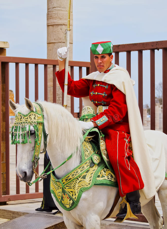 Royal guard in front of the Hassan Tower and Mausoleum of Mohammed V in Rabat royalty free stock photos