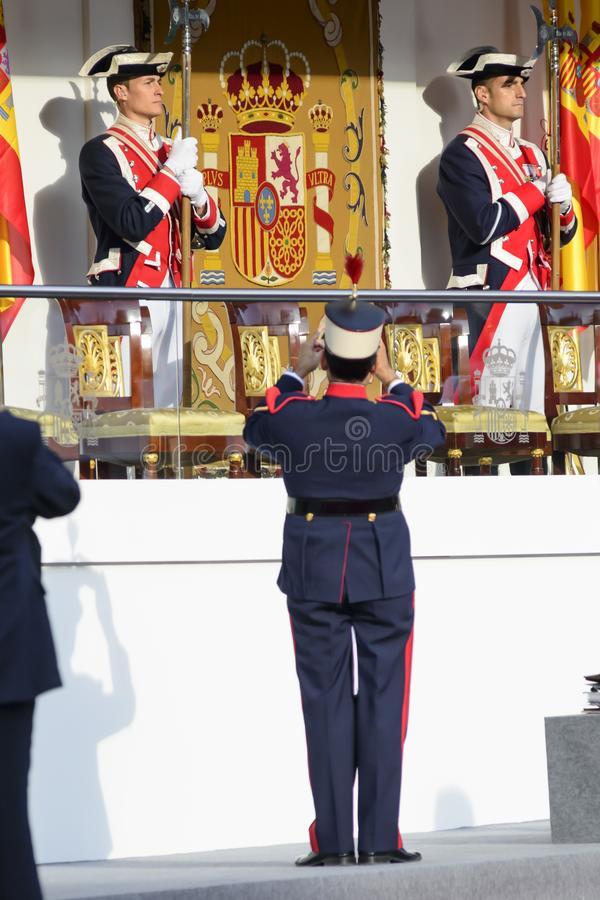 Royal Guard taking a photo of the Royal podium royalty free stock images