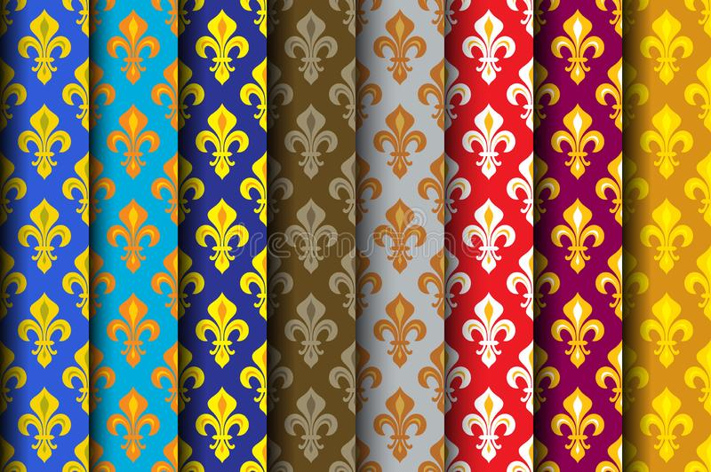 Royal Heraldic Lilies (Fleur de lis) -- Rich colorful wallpaper, fabric textile, seamless pattern, versicolored rolls. stock illustration