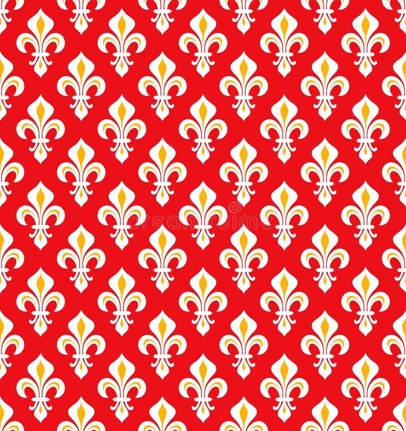 Royal Heraldic Lilies, seamless pattern. Royal Heraldic Lilies Fleur-de-lis — Red cinnabar vermillion scarlet velvet, seamless pattern, wallpaper royalty free illustration