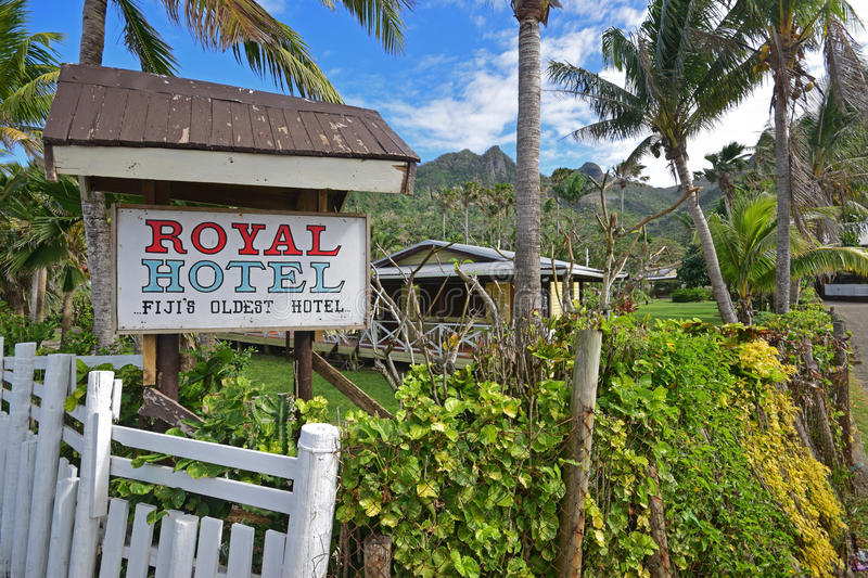 Royal Hotel is Fiji`s oldest hotel located at Levuka, Ovalau island, Fiji. This is mage is taken from Beach Street with the hotel buildings visible in the stock image