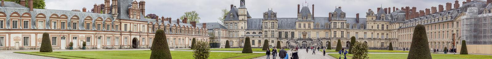 Royal hunting castle in Fontainebleau, France. FOUNTAINBLEAU, FRANCE - APRIL 28:Royal hunting castle on april 28, 2013 in Fontainebleau. Palace of Fontainebleau stock photo