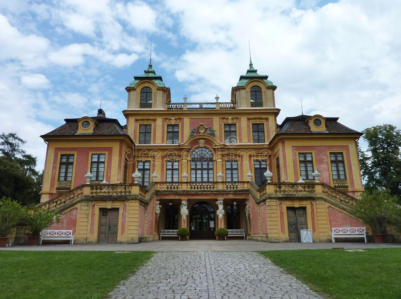 Royal hunting place. The favorite summer palace in a spacious parkland in Ludwigsburg in the Black Forest in Germany stock photos