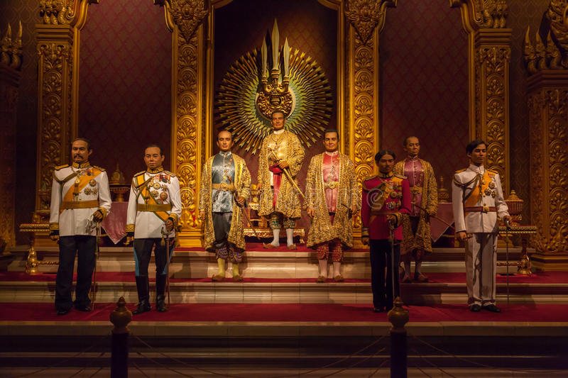 The Royal Images of Chakri Dynasty Kings. NAKORNPRATHOM,THAILAND-AUGUST 25: The Royal Images of Chakri Dynasty Kings of Thailand was show at Thai Human Imagery stock photos