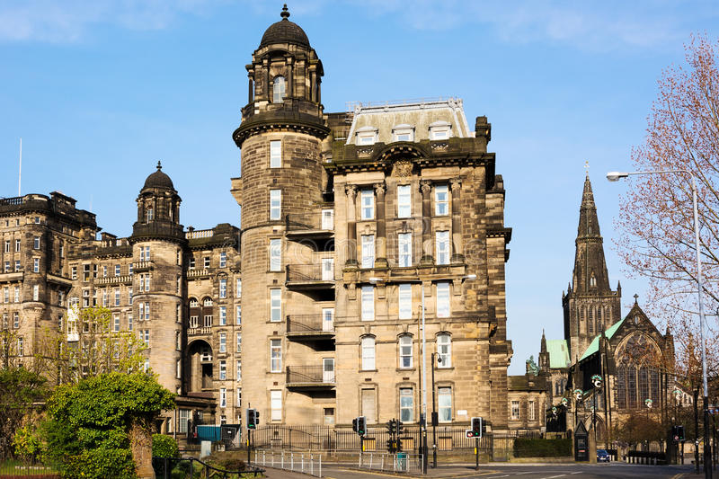 Royal Infirmary and St Mungo's Cathedral in Glasgow. Scotland stock photo