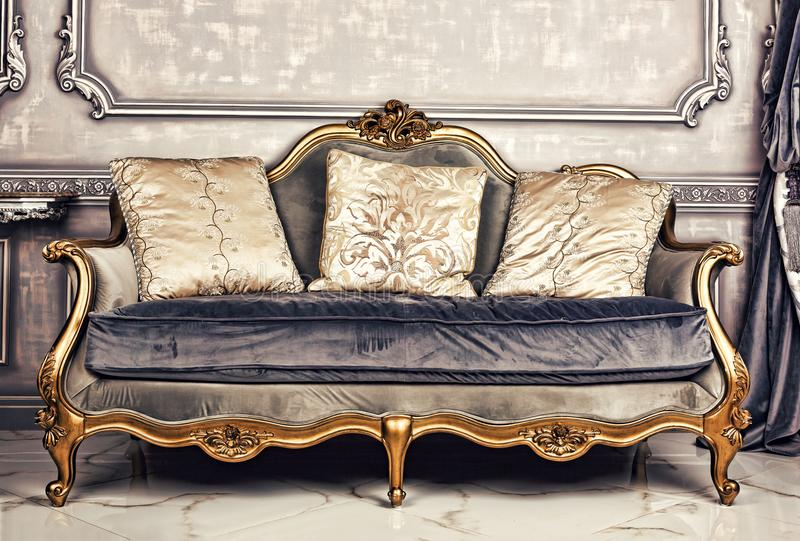 Royal interior, sofa, Living room, antique, stylish, luxurious, royalty free stock images