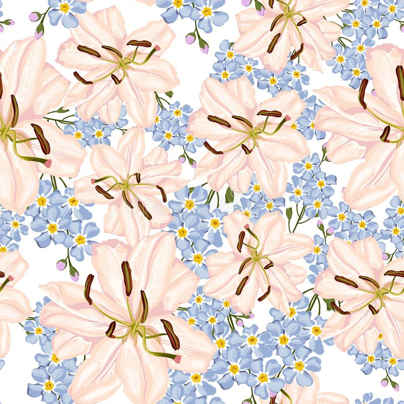 Royal lilies Christmas winter rose floral seamless pattern texture. White lilies flowers with blue forget-me-not flowers. vector illustration