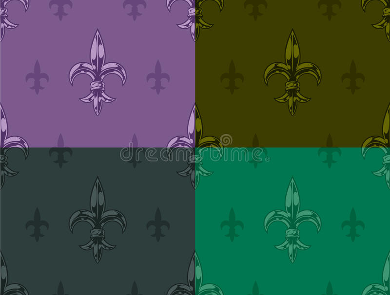 Royal lily graphic seamless color pattern set vector illustration