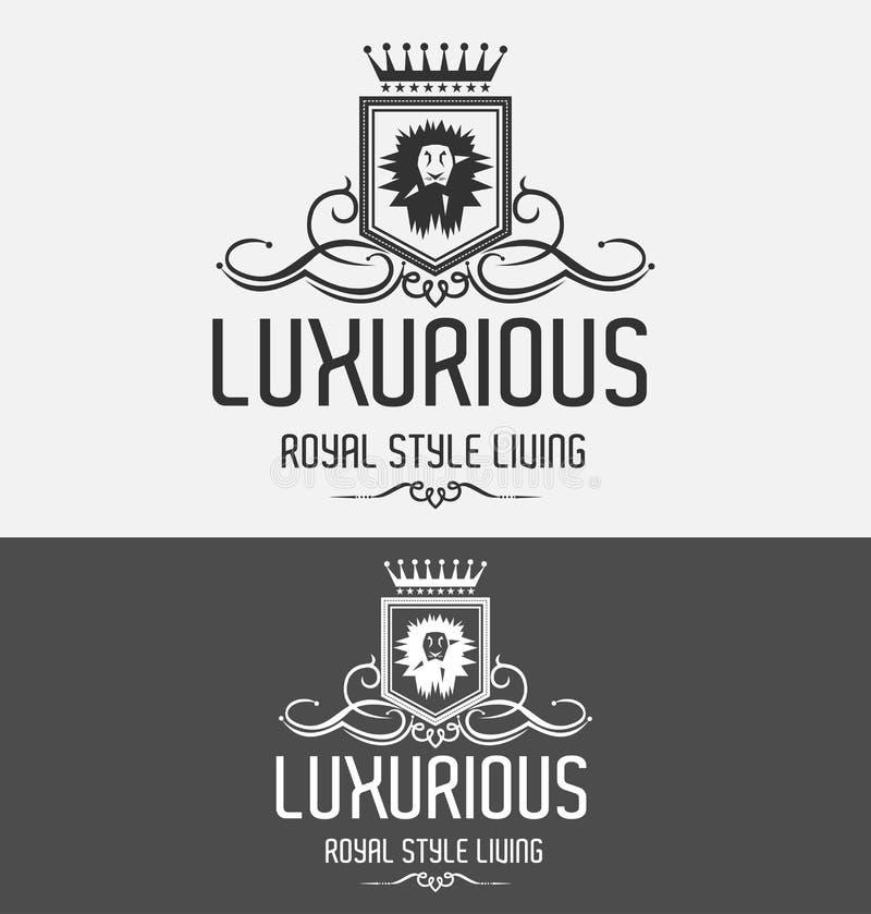 royal lion crest logo vector illustration stock vector