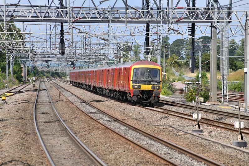 A Royal Mail train on the West Coast Main Line near Lichfield Trent Valley stock images