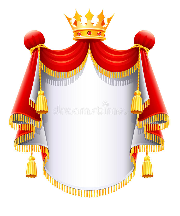 Royal majestic mantle with gold crown. Illustration isolated on white background royalty free illustration
