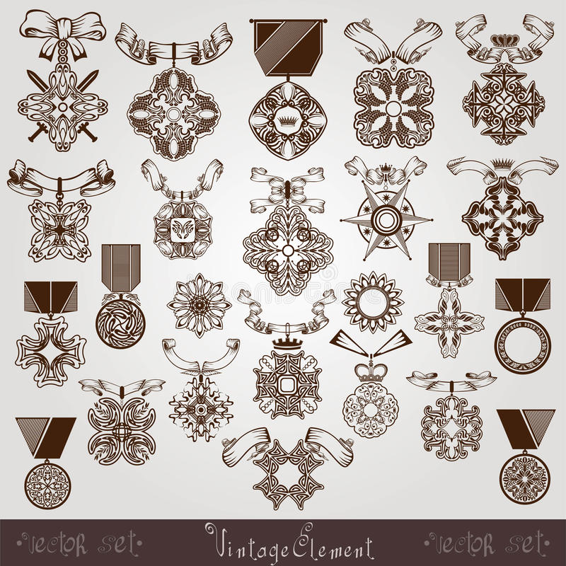 Royal Medal Vintage Set Stock Image