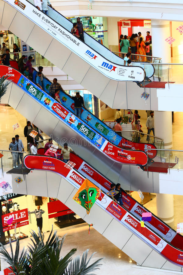 Download Royal Meenakshi Mall Bangalore India Editorial Stock Image - Image of escalators, public: 22929159