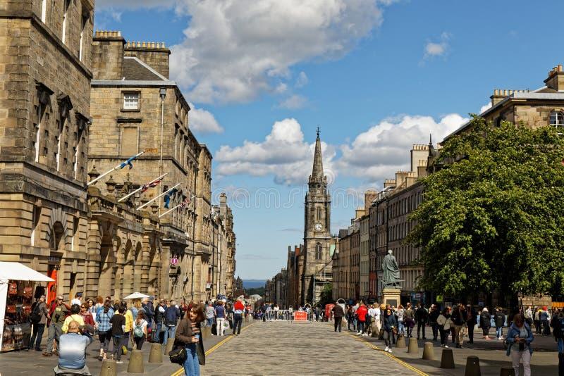 Royal Mile High Street - Edynburg, Szkocja zdjęcie stock