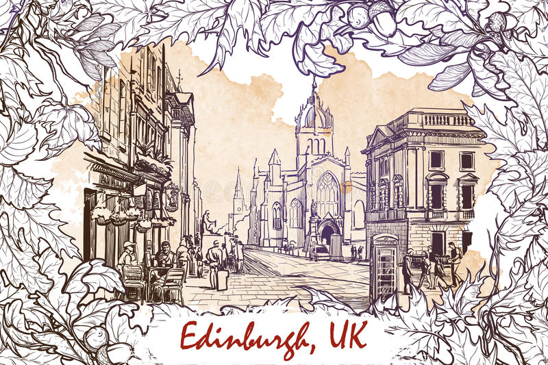 Royal Mile street sketch on a grunge background. Royal Mile street panorama. Edinburgh, Scotland, the UK. Sketch imitating ink pen drawing with a grunge stock illustration