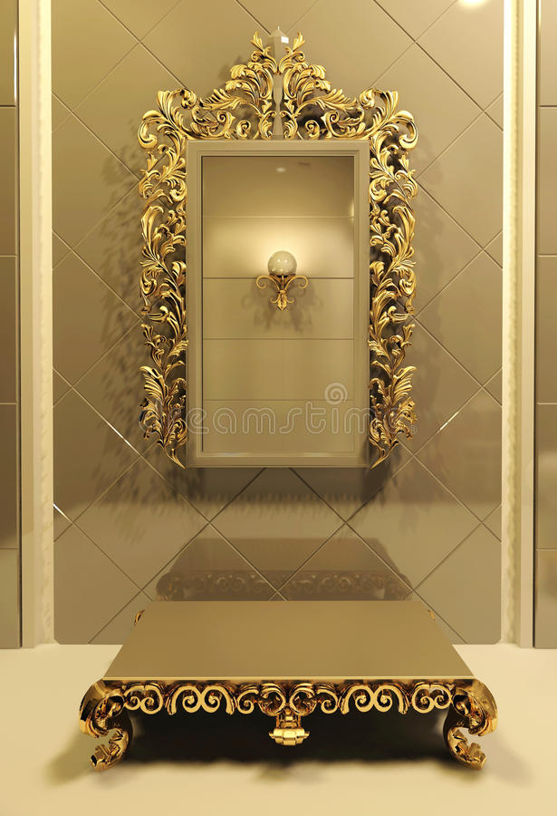 Royal mirror with gold frame in luxury interior stock illustration