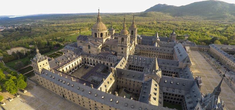 Royal Monastery of San Lorenzo de El Escorial. Aerial photo of Royal Monastery of San Lorenzo de El Escorial. No logos or trademarks in the picture royalty free stock photo