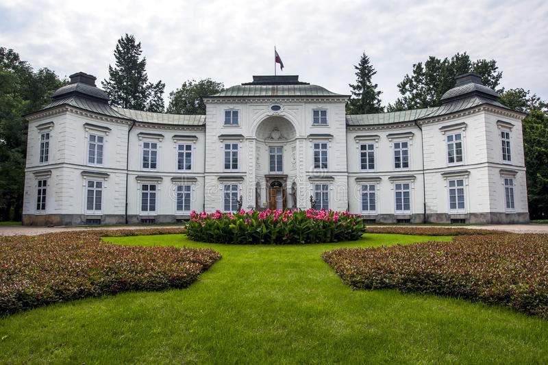 The Royal Myslewicki Palace at Lazienki Park in Warsaw. royalty free stock image