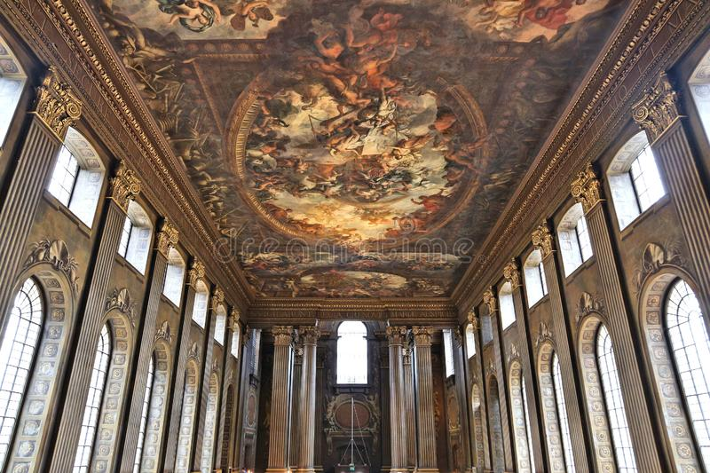 Royal Naval College. LONDON, UK - JULY 8, 2016: Painted Hall of Old Royal Naval College in Greenwich, London, UK. It is a part of UNESCO World Heritage Site stock image