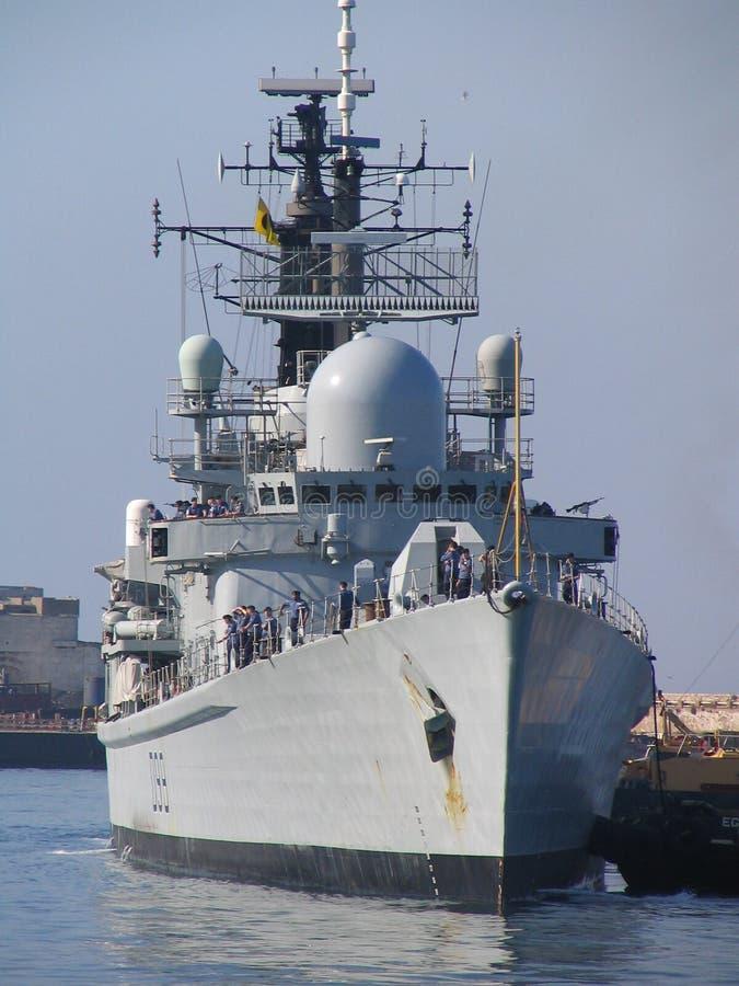 Royal Navy destroyer. In Gibraltar royalty free stock photos