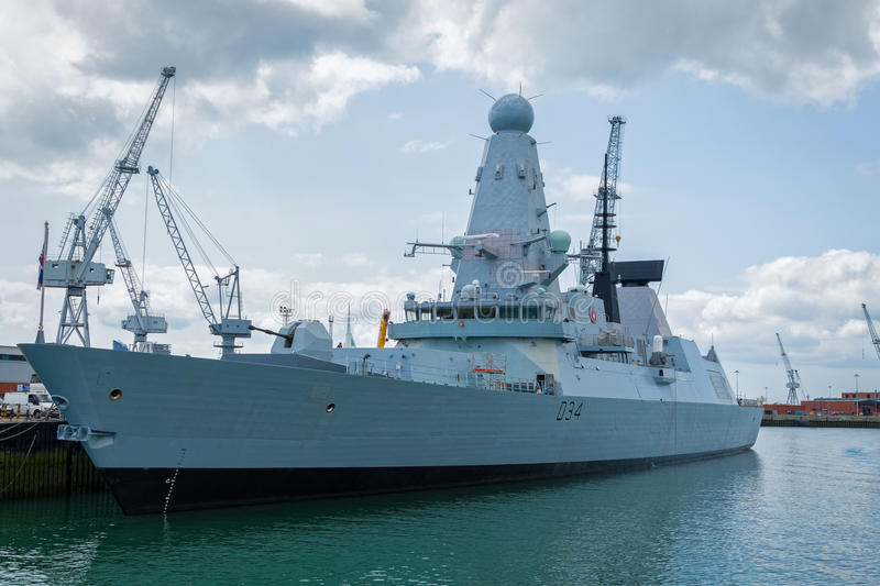 Royal Navy Destroyer Warship. HMS Diamond, a Royal Navy air-defence destroyer. Portsmouth, Hampshire, England stock images
