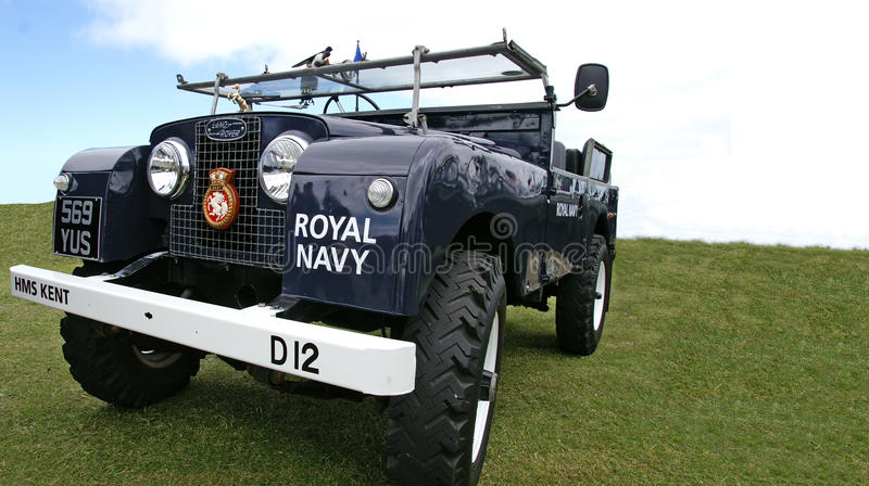 Royal Navy Landrover. A Royal Navy Series3 Landrover on display at Whitstable classic car show June 2013. Picture ideal for car shows, Navy and LR Enthusiasts royalty free stock photography
