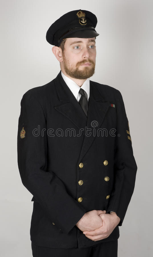 Royal Navy Petty Officer sailor WWII. Reconstruction of a WWII period sailor of the Royal Navy. Original period clothing. Dressed as a Petty Officer regulator &# stock photography