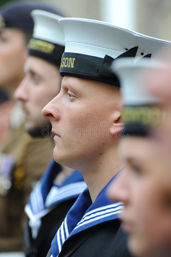 Royal Navy sailor on parade in best uniform stock photos