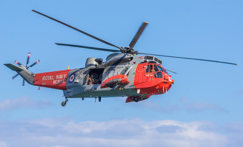 Royal Navy Sea King Helicopter stock image