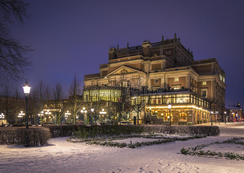 The Royal Opera house, Stockholm. Sweden. The Royal Opera house in Kungstradgarden in Stockholm. Sweden. Winter scene stock photography