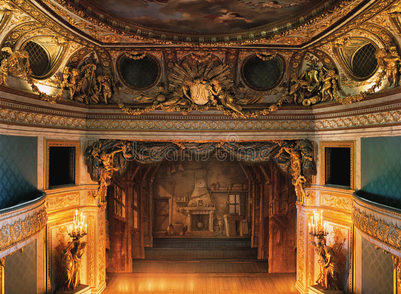 Royal opera stage from the king's balcony at Versailles Palace. Versailles, France - 13 August 2014 : Royal opera stage from the king's balcony at Versailles stock photo